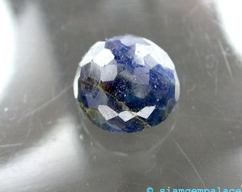 SAPPHIRE. Natural. Dark Blue. Micro Facet Cabochon. 1 pc. 16.44 cts. 14x13.5x8.5 mm (S313)