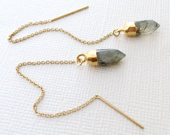Labradorite Threader Earrings ~ 14k Gold Filled Chain Threader Crystal Point Earrings