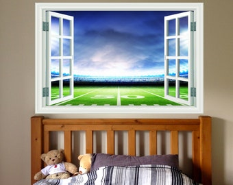 Football Stadium 3D Window View Removable Decal Home Decor Mural Wall Vinyl