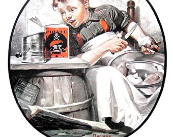 On the High Seas, A Night on the Town - Large Norman Rockwell Print - 1979 Vintage Book Page - Saturday Evening Post Cover - 14 x 12