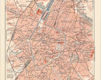 Brussels map print Brussels print Brussels city map Belgium