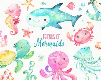 Friends Of Mermaids. Watercolor clip art, fish, jellyfish, turtle, sea, octopus, crab, nautical, underwater, ocean, pink, shells, babyshower