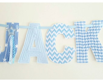 Boys name Bunting. Personalised Fabric banner