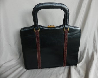 Vintage 1950's or 1960's Black Leather Double Handled Handbag Purse by Andrew Geller