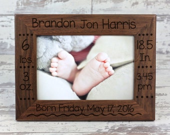 Baby Picture Frame, Baby Gift, Walnut Picture Frame, Custom Picture Frame, Custom Gifts