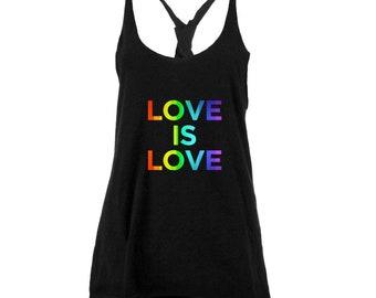 LGBT Gay Pride Love Is Love Juniors Twist Tank Top