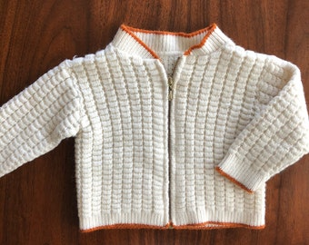 Vintage Baby Boys Girls Hand Knit Waffle Weave Sweater Zip Up Cardigan 12 Months