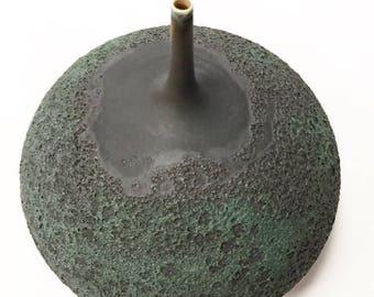 Ships Now-  large slate black crater bottle vase by sarapaloma .
