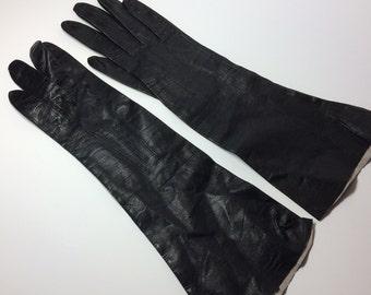 Vintage black leather ladies gloves, size 6 1/2