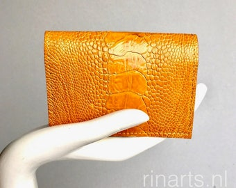 Card holder / wallet in honey / dark golden yellow genuine ostrich leather and grey suede lining. Gift for woman and men