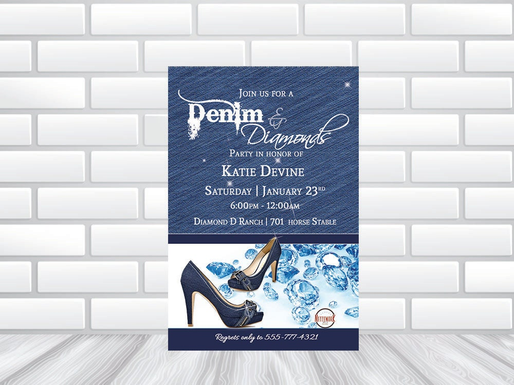 Denim Diamond Invitation Printed Invitations or Printable