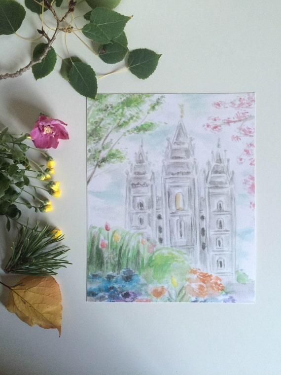 Salt Lake City Utah LDS temple watercolor print