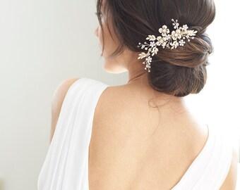 Crystal Bridal Comb, Floral Rhinestone Wedding Comb, Bridal Hair Accessory, Crystal Wedding Headpiece, Floral Hair Comb, Wedding ~ TC-2321