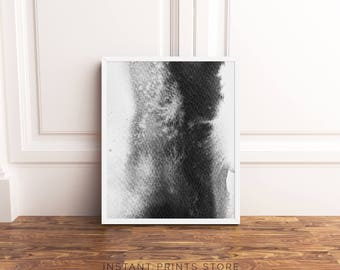 Monochrome Modern Art Print Black White Grey Art Watercolor Contemporary Abstract Home Decor Poster Wall Art Printable Instant