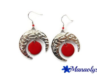 Moons and red enameled charms 3036 pendants earrings