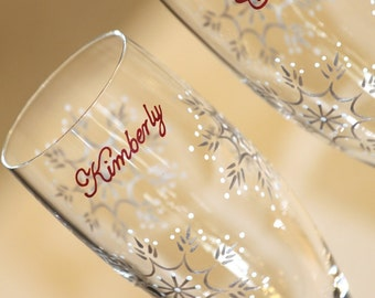 Snowflake Hand Painted Wedding Toasting Flutes Champagne Glasses Bride Groom Mr. Mrs. Winter Ice Personalized Dated Crimson Red Silver White