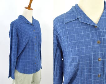 Vintage 1990's Blue Casual Long Sleeve Button up Plaid Blouse - Summer Spring Mori Girl Top - Size Medium