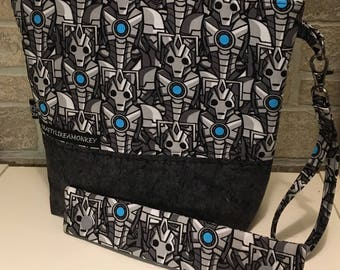 Dr Who Cyberman inspired project zipper pouch with flat bottom and knitting needle cozy