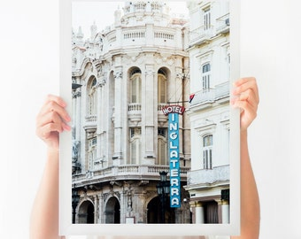 Havana Architecture Photography, Hotel Inglaterra Fine Art Print, Modern Home Decor, Architecture Print, Large Wall Art, Custom Sizes