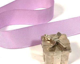Vintage Tiffany & Co Silver Hinged Ribbon Pill Box