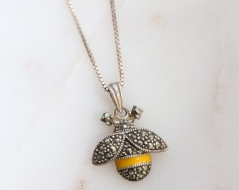 Sterling Marcasite Bee Pendant Necklace