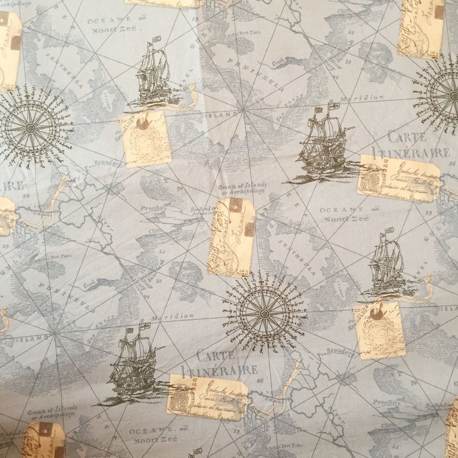 Map fabric by the yard world map fabric vintage map print fabric sold by cmfabric gumiabroncs Gallery