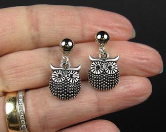Silver post dangle earrings, surgical stainless steel, nickel free earrings, simple silver earrings, silver owl earrings, nature jewelry