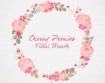Cherry Blossom Peonies Rustic Floral Wreath Clipart Wedding Flowers
