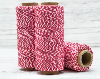 Bakers Twine Red and White,   136 Yards, 2ply, Cotton Bakers Twine,   Gift Wrap, Bakers twine