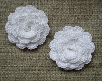 """set of 2 white flowers crocheted """"pink style"""""""