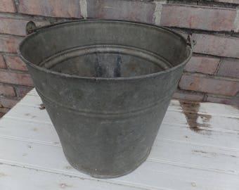 galvanized metal pail, vintage pail, vintage galvanized metal bucket, rustic pail, vintage metal bucket, outdoor planter, galvanized metal