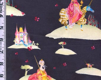 Fabric Clothworks Bloom coll.  Medieval Princess Unicorns Castle Fairy Tale Masha Dyans designer on black  1396 3