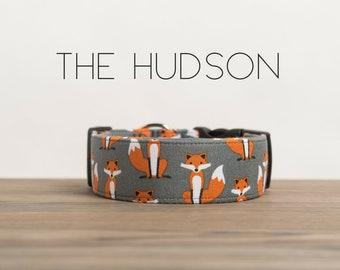"Dog Collar Playful Unisex Orange & Grey Foxes ""The Hudson"""