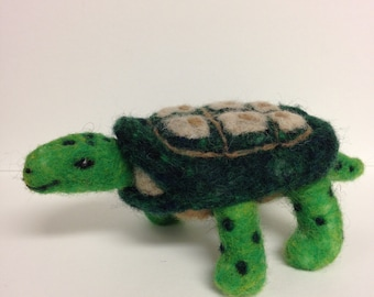Needle Felted Wool Turtle, Green