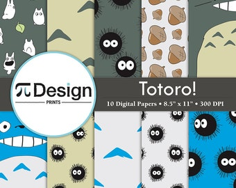 "8.5""x11"" Totoro Inspired Digital Paper Pack of 10 