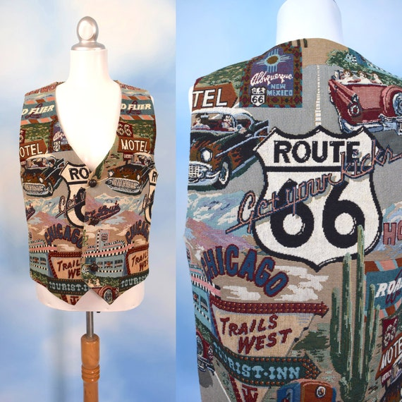 Vintage 90s Route 66 Road Trip Novelty Print Woven Tapestry Vest (men's size medium, large)