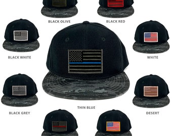 USA American Flag Embroidered Iron on Patch Camo Bill Snapback Cap - NTG (356-NTG)