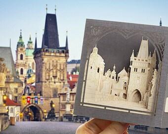 Prague Charles Bridge Old Town Paper Art Gift Miniature Laser Cut keepsake Bridge model Landmarks Czech I love Prague Gallery Museums craft