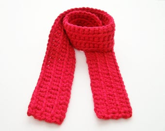 Kid's Scarf, Red Child's Scarf,  Holiday Scarf, Crochet Christmas Scarf