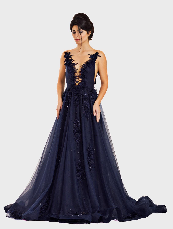 Royal Blue Kleid Mutter der Perlen Brautkleid Elegant