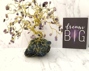 Bonsai Gem Trees, Charoite Gemstones, Tree of Life, Crystal Trees, Wire Bonsai Sculpture, Boho Decor, Mantel Decor, Unique Home Decor