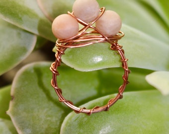 Pink Moonstone Wire Wrap Ring