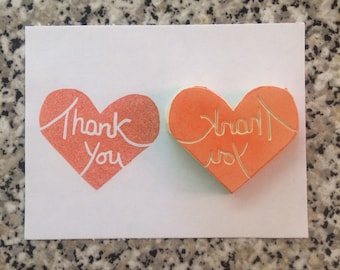 Thank You Stamp - handmade, rubber stamp, heart, love, maker, thanks, gratitude