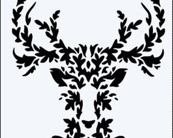 Leaf Filled Stags Head reuseable 190 micron Mylar Stencil - A5 - A4 - A3 - Free UK P & P