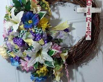 He is Risen Cross Easter wreath Grapevine Wreath