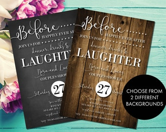 Rustic Couples Shower Invitation | Country Wedding Shower | Before Happily Ever After | Dinner, Drinks, and Laughter | Chalkboard | Wood