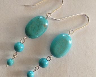 Sterling silver Earrings, Turquoise earrings, drop earrings, dangle earrings, silverbymaggie, silver earrings, handmade earrings, fashion,