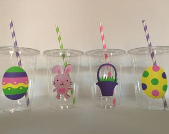 Easter party cups, Easter Birthday Party Cups, Easter Egg Hunt Party, Bunny Party, Bunny Birthday Party