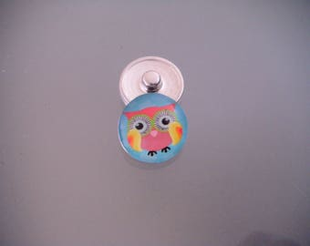 x 1 snap multicolored OWL/OWL pattern for bracelet DIY 18 mm round