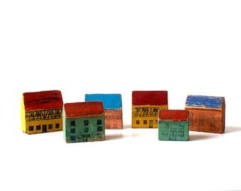 Vintage Erzgebirge Miniature Wooden Houses - 1940's - Set of 6 - German Rustic Folk Art - Putz House